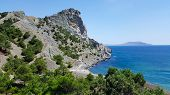 Scenic Views On The Bay And Beautiful Rocks. New World In The Crimea, Golitsyn Trail, Black Sea Coas poster