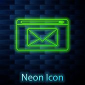 Glowing Neon Line Mail And E-mail Icon Isolated On Brick Wall Background. Envelope Symbol E-mail. Em poster