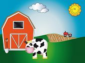 picture of the lost sheep  - illustration of farm cartoon with cow sheeps and chick - JPG
