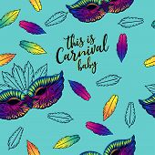 Seamless Pattern For Carnival Party With Feathers And Carnival Mask. Printing Fabric Textile. poster