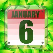 January 6 Icon. Calendar Date For Planning Important Day With Green Leaves. Sixth Of January. Banner poster