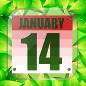 January 14 Icon. Calendar Date For Planning Important Day With Green Leaves. January Fourteenth. Ban poster