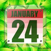 January 24 Icon. For Planning Important Day With Green Leaves. Banner For Holidays And Special Days. poster