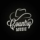 Country Music Sign. Cowboy Hat With Country Music poster