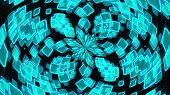 Kaleidoscope Of Luminous The Crystals And Petals Forming Beautiful Flower. 3d Rendering Computer Gen poster