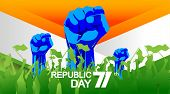 71 Years India Republic Day With Hand Fist In National Flag Color Theme. People Cheering And Celebra poster