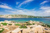 Stones on Zia Culumba Beach. Capo Testa, Sardinia Island, Italy. Sardinia is the Second Largest Isla poster