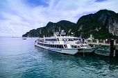 The Ferry Boat Parking At Phi Phi Island Gulf