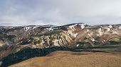 Colourful Mountains In Landmannalaugar National Park, Iceland. Cloudy Day Landscape. poster