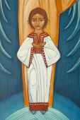 Pequeno Jesus no ícone ortodoxo