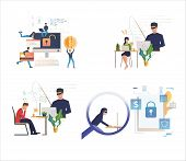 Set Of Cybercriminals Stealing Personal Information. Flat Vector Illustrations Of People Hacking Sof poster