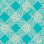 Indigo And Beige Vector Seamless Check Pattern. Allover Pattern. Ink Grunge Grid. Hand Drawn Seamles poster