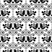 Scandinavian Folk Seamless Vector Pattern, Repetitive Floral Cute Nordic Design With Birds In Black  poster