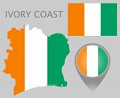 Colorful Flag, Map Pointer And Map Of Ivory Coast In The Colors Of The Ivory Coast Flag. High Detail poster