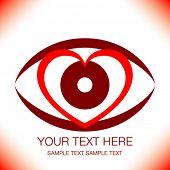 Diseño llamativo ojo de corazón con espacio de copia.