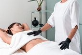 Spa Woman. Female Enjoying Relaxing Cosmetology And Spa Centre. Body Care, Skin Care, Wellness, Well poster