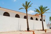 pic of hacienda  - Beautiful Classical Mediterranean Hacienda Spanish style building with palm trees - JPG
