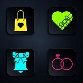 Set Wedding Rings, Shopping Bag With Heart, Ringing Bell And Candy In Heart Shaped Box And Bow. Blac poster