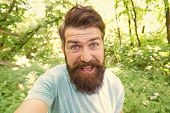 Go Wild. Hair Care Male Beauty. Summer Fun. Bearded Guy In Park Forest. Bearded Hipster. Crazy Beard poster