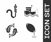 Set Fishing Spoon, Fishing Hook And Worm, Fish And Fishing Boat With Fishing Rod On Water Icon. Vect poster