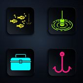 Set Fishing Hook, Fishing Hook Under Water With Fish, Case Or Box Container For Wobbler And Gear Fis poster