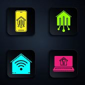 Set Laptop With Smart House And Light Bulb, Mobile Phone With Smart Home, Smart Home With Wi-fi And  poster