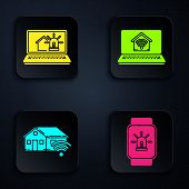 Set Smart Watch With Smart House And Alarm, Smart Home With Wi-fi And Laptop With Smart Home With Wi poster