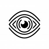 Black Line Icon For See Discern Scrutinize Sight Vision Observation poster