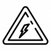 Electric Attention Triangle Icon. Outline Electric Attention Triangle Vector Icon For Web Design Iso poster