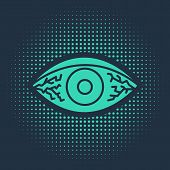 Green Reddish Eye Due To Viral, Bacterial Or Allergic Conjunctivitis Icon Isolated On Blue Backgroun poster