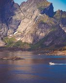 Scenic Fjord Landscape Above The Arctic Circle, Coast Nature With Sharp Mountain Peaks, Lofoten Isla poster