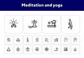 Meditation And Yoga Line Icon Set. Health, Wellness, Leisure. Buddhism Concept. Can Be Used For Topi poster