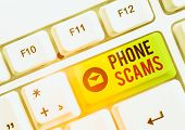 Text Sign Showing Phone Scams. Conceptual Photo Use Of Telecommunications For Illegally Acquiring Mo poster