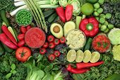 Low glycemic health food for diabetics with green & red vegetables & fruit high in vitamins, mineral poster