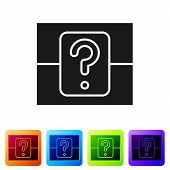 Black Mystery Box Or Random Loot Box For Games Icon Isolated On White Background. Question Box. Set  poster
