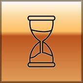 Black Line Old Hourglass With Flowing Sand Icon Isolated On Gold Background. Sand Clock Sign. Busine poster