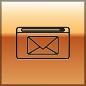 Black Line Mail And E-mail Icon Isolated On Gold Background. Envelope Symbol E-mail. Email Message S poster