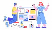 Vector Illustration Of Designers Doing Presentation Or Preparing A New Project. Creative Team Of Web poster