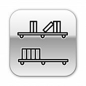 Black Line Shelf With Books Icon Isolated On White Background. Shelves Sign. Silver Square Button. V poster