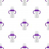 Illustration On Theme Colored Kit Baby Milk In Clear Bottle With Rubber Pacifier. Baby Milk Bottle C poster