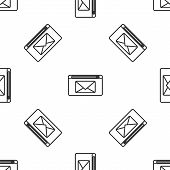 Grey Line Mail And E-mail Icon Isolated Seamless Pattern On White Background. Envelope Symbol E-mail poster