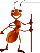 stock photo of fire ant  - Vector Illustration of a cute cartoon ant holding a blank notice board - JPG