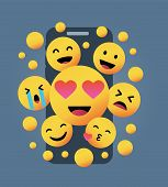 Various Yellow Emoticons In Front Of A Smartphone Screen On A Yellow Background, Vector Concept Illu poster