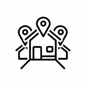 Black Line Icon For Address Location Locale Place Resident Inhabitant House poster