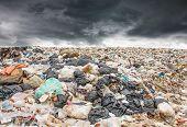 Garbage Dump Pile In Trash Dump Or Landfill,truck Is Dumping The Gabage From Municipal,garbage Dump  poster