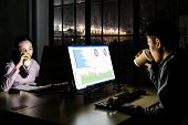 Young adult asian businessman and woman drinking hot cofee while working late at night in their offi poster