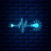 Glowing Neon Wire Plug And Light Bulb Icon Isolated On Brick Wall Background. Plug, Lamp And Cord In poster
