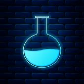 Glowing Neon Test Tube And Flask - Chemical Laboratory Test Icon Isolated On Brick Wall Background.  poster