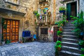 Beautiful Narrow Street With Stone Houses. Old Stone Houses And Entrances Decorated With Flowers. Co poster
