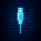 Glowing Neon Usb Cable Cord Icon Isolated On Brick Wall Background. Connectors And Sockets For Pc An poster